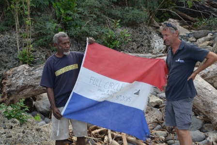 David en Paul met de Full Circle vlag